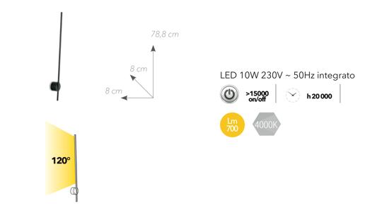 APPLIQUE DESIGN MODERNA NERO LED 10W 4000K MINIMAL