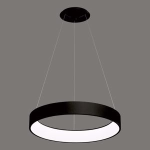 LAMPADARIO A LED MODERNO ANELLO 48W 3200K 60CM DIMMERABILE METALLO NERO OPACO