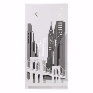 ARTI E MESTIERI QUADRO OROLOGIO MODERNO NEW YORK CITY BIANCO ANTRACITE ARDESIA 3D