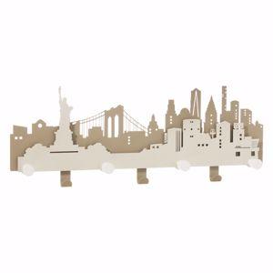 ARTI E MESTIERI APPENDIABITI DA PARETE DELLA GRANDE MELA NYC METALLO BEIGE E AVORIO