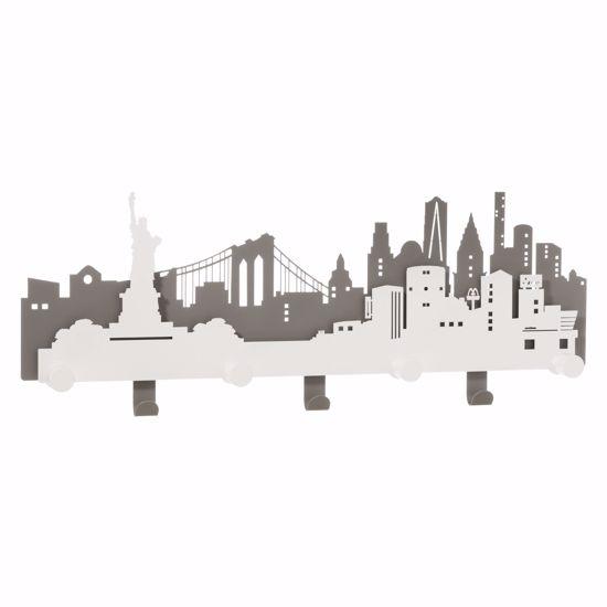 ARTI E MESTIERI APPENDIABITI DA PARETE DELLA GRANDE MELA NYC METALLO ARDESIA E BIANCO MARMO