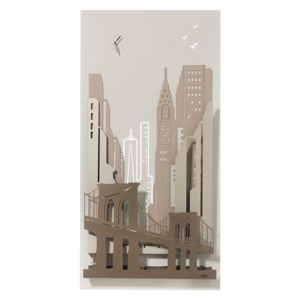 OROLOGIO MODERNO NEW YORK CITY AVORIO BEIGE SABBIA BRONZO 3D
