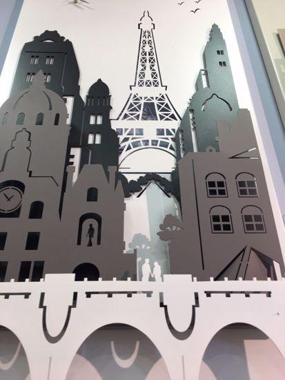 ARTI E MESTIERI QUADRO OROLOGIO PARIS CITY MODERNO BIANCO ANTRACITE ARDESIA