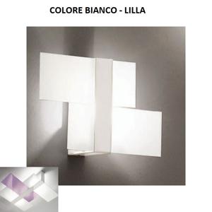 APPLIQUE A PARETE VETRO BIANCO E LILLA TRIAD LINEA LIGHT