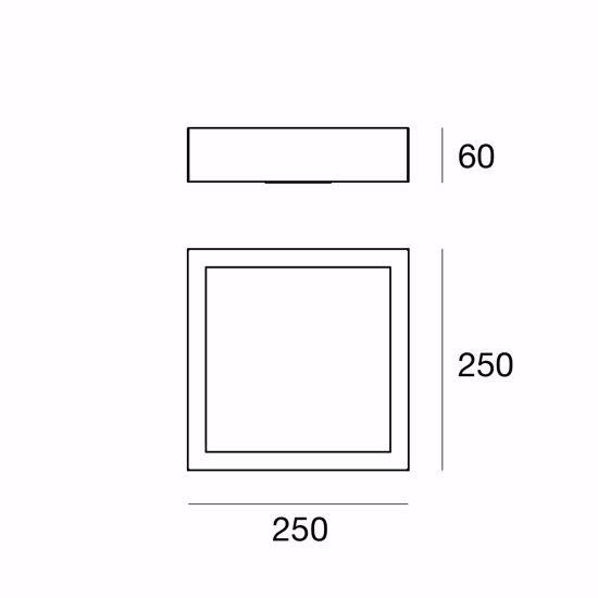 BOX LINEA LIGHT PLAFOFONIERA MODERNA LED GRIGIO CEMENTO 17W 4000K QUADRATO