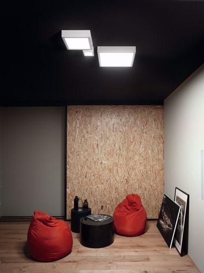 GRANDE PLAFONIERA LED LINEA LIGHT BIANCA BOX 43W 3000K QUADRATA