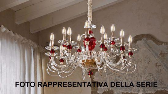 LAMPADARIO CLASSICO 5 BRACCI CRISTALLO ROSSO TRASPARENTE PER SALOTTO