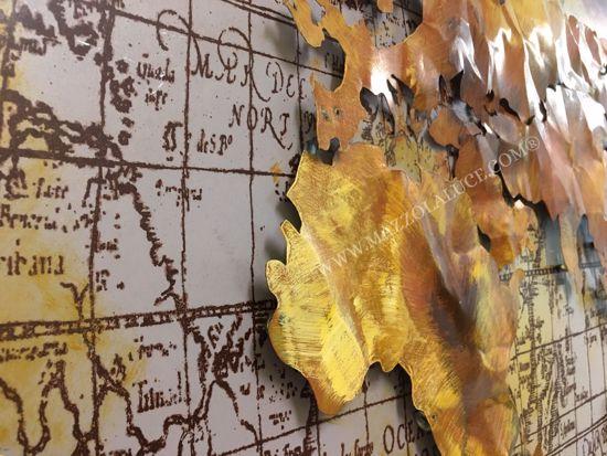 QUADRO MODERNO PLANISFERO ORO IN METALLO 3D MAPPA DEL MONDO ARTIGIANALE 120X80