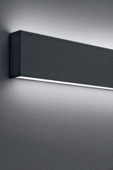 LINEA LIGHT BOX APPLIQUE LED A PARETE GRIGIO ANTRACITE 19W 4000K DOPPIA EMISSIONE DI LUCE