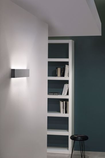 APPLIQUE LED LINEA LIGHT BIEMISSIONE GRIGIO CEMENTO BOX