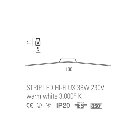 MA&DE PLAFONIERA LED LAMA MODERNO NERO 3000K