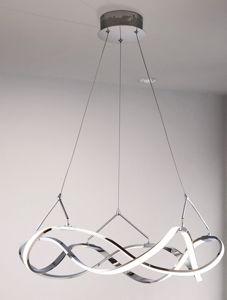 LAMPADARIO DESIGN MODERNO PER SOGGIORNO LED CROMO LUCIDO