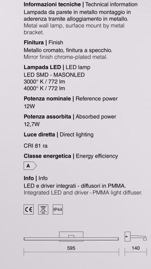 LAMPADA PER SPECCHIO DA BAGNO 12W 4000K SQUADRATO CROMO LUCIDO IP44 59,5CM