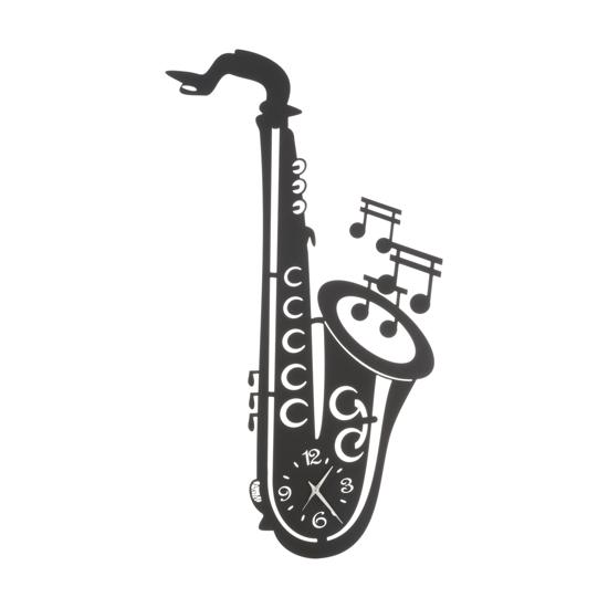 ARTI E MESTIERI SAX OROLOGIO DA MURO MODERNO METALLO NERO TEMA MUSICALE