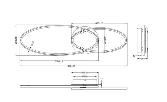 PLAFONIERE LED DESIGN MODERNA NERA 35W 3000K DIMMERABILE