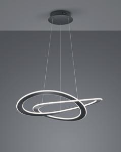 LAMPADARIO ANTRACITE DESIGN MODERNO CERCHI LED 52W 3000K DIMMERABILE