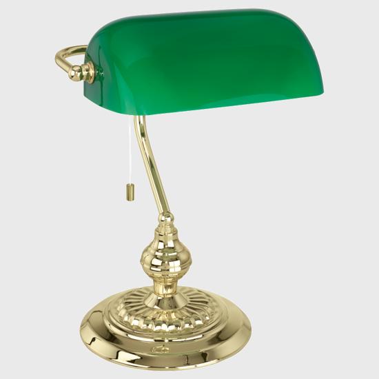 ABAT-JOUR LAMPADA DA SCRIVANIA METALLO BRUNITO OTTONE E VERDE PER UFFICIO CLASSICO