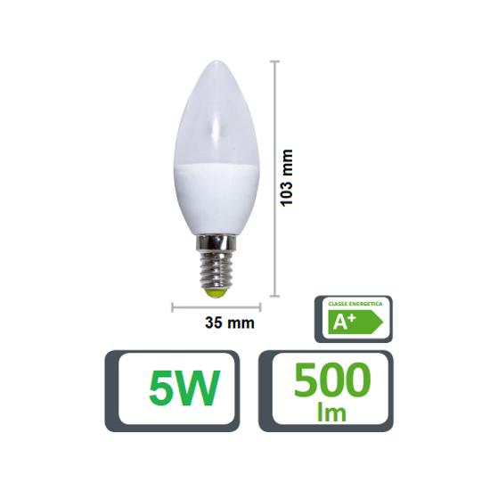LIFE ELECTRONICS LAMPADINA LED E14 5,5W 3000K CANDELA