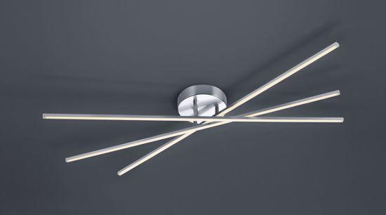 GRANDE PLAFONIERA LED DIMMERABILE DESIGN BACCHETTE ORIENTABILI NICKEL