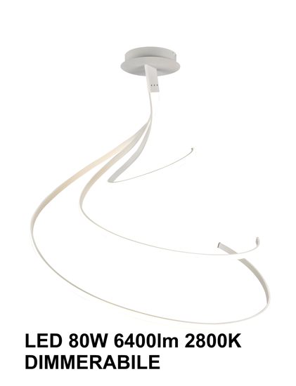 GRANDE LAMPADARIO LED BIANCO MODERNO LED 80W 2800K DIMMERABILE