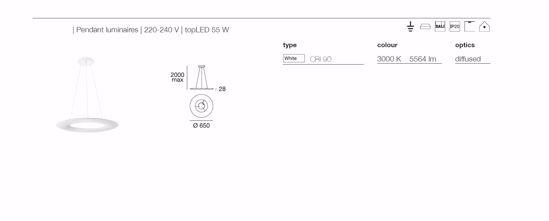 LAMPADARIO LED DIMMERABILE DISCO 55W 3000K BIANCO DESIGN MODERNO