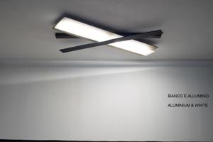 PLAFONIERA LED 36W 99.5CM BIANCO E ALLUMINIO