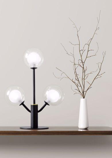ABAT JOUR LAMPADA DA TAVOLO DIMMERABILE PER SALOTTO 3 SFERE VETRO COSMO MILOOX