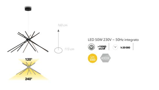 LAMPADARIO PER SOGGIORNO MODERNO LED 50W 4000K NERO DESIGN ORIGINALE