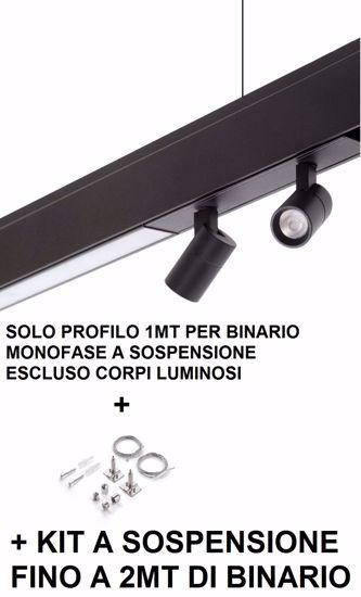 PROFILO BINARIO A SOSPENSIONE MONOFASE 1MT NERO CON KIT CAVI