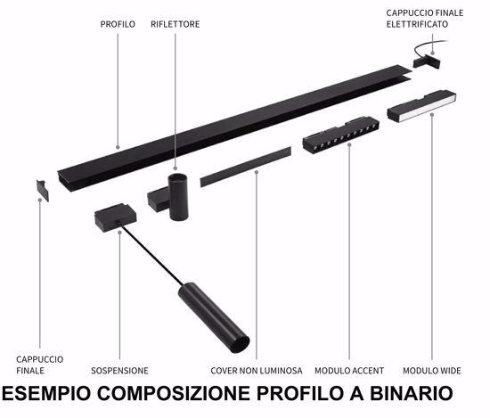 CONNETTORE ELETTRICO PER PROFILI BINARIO MONOFASE 48V NERO