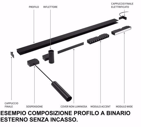 CAPPUCCIO FINALE ELETTRIFICATO CON ROSONE PER PROFILO BINARIO MONOFASE 48V NERO