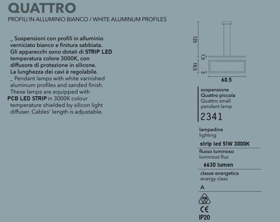 LAMPADARI MODERNI LED 51W 3000K RETTANGOLARTE BIANCO AFFRALUX QUATTRO