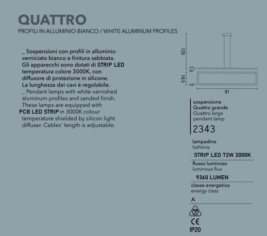 LAMPADARIO MODERNO LED 72W 3000K BIANCO AFFRALUX QUATTRO