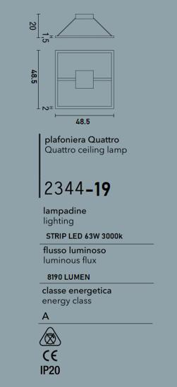 PLAFONIERA LED 72W 3000K DESIGN QUADRATO METALLO BIANCO AFFRALUX QUATTRO