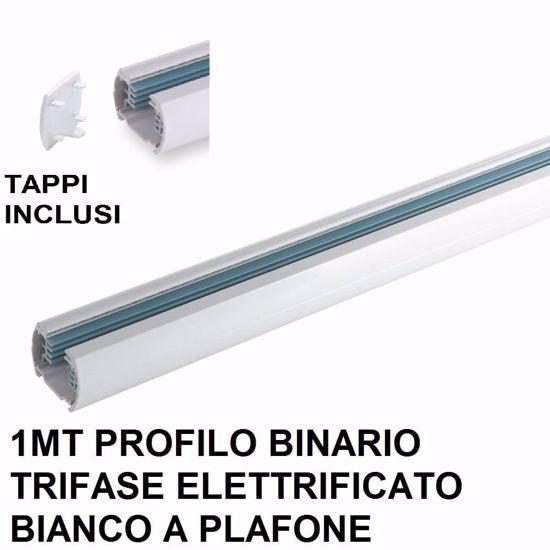 BINARIO TRIFASE 1MT BIANCO ELETTRIFICATO ALLUMINIO TAPPI INCLUSI