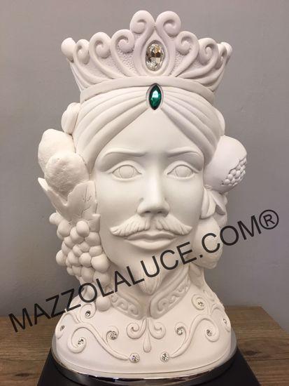 SCULTURA TESTA DI MORO MASCHILE 28CM BIANCA VASO SOPRAMMOBILE