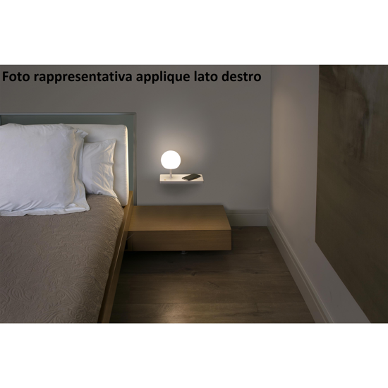 APPLIQUE CAMERA DA LETTO LATO SINISTRO MENSOLA PRESA USB CARICATORE WIRELESS