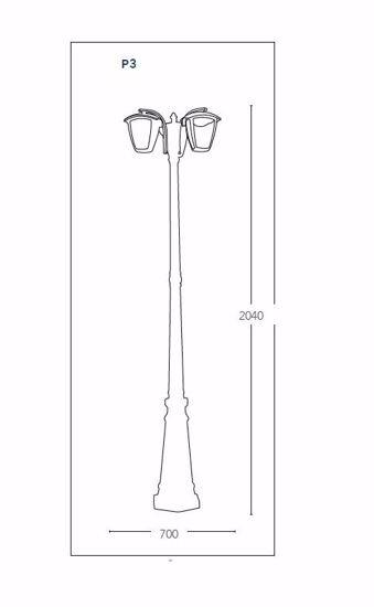 LAMPIONE ALTO PER GIARDINO ESTERNO VIALE 3 LUCI IP44 MODERNO NERO