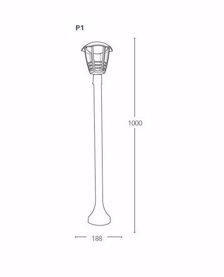 LAMPIONE PER VIALE ESTERNO GIARDINO IP44 NERO LED 12W 4000K