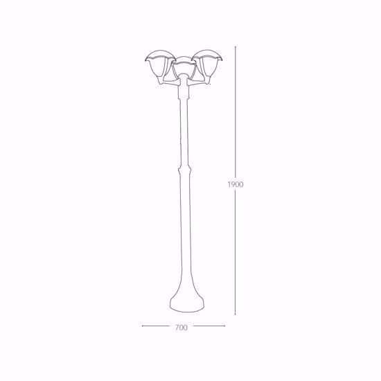LAMPIONE ALTO PER VIALE ESTERNO GIARDINO IP44 TRE LUCI ALLUMINIO NERO