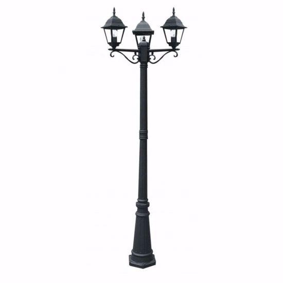 LAMPIONE ALTO PER GIARDINO VIALE ESTERNO 3 LUCI NERO CLASSICO IP44 E27