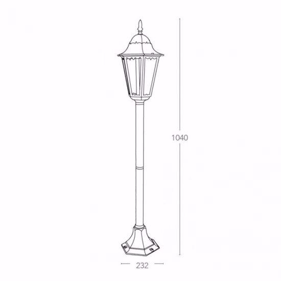 LAMPIONE PER ESTERNO GIARDINO IP44 ALLUMINIO ARGENTO E27 CLASSICO