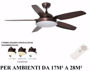 VENTILATORE A PALE DA SOFFITTO MARRONE CON LUCE LED DIMMERABILE TELECOMANDO