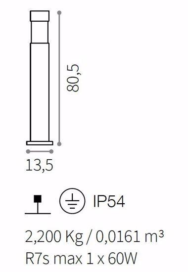 PALO PER ESTERNO GIARDINO H80 VIALE DESIGN MODERNO IP54 NERO