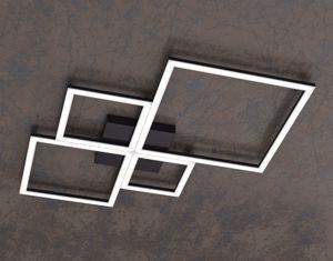PLAFONIERA LED 88W 3000K 4000K TOPLIGHT FOUR SQUARES NERO PER SOGGIORNO
