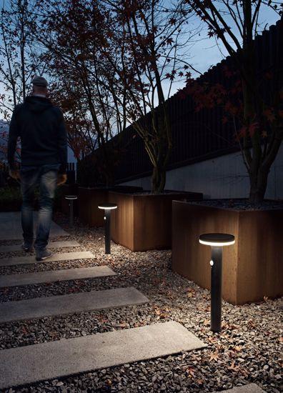 LAMPIONCINO DA ESTERNO LED IP44 NERO RILEVATORE DI MOVIMENTO SENSORE CREPUSCOLARE