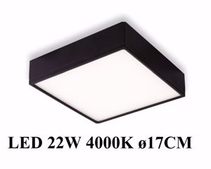 PLAFONIERA LED 22W 4000K NERO QUADRATA LUMINOSA PER INTERNI