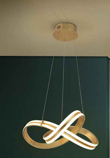 LAMPADARIO DESIGN MODERNO DECORO ORO LED PER SOGGIORNO