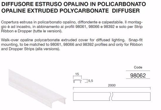 DIFFUSORE 98062 IN POLCIARBONATO OPALE PER PROFILO ALLUMINIO LL 98061