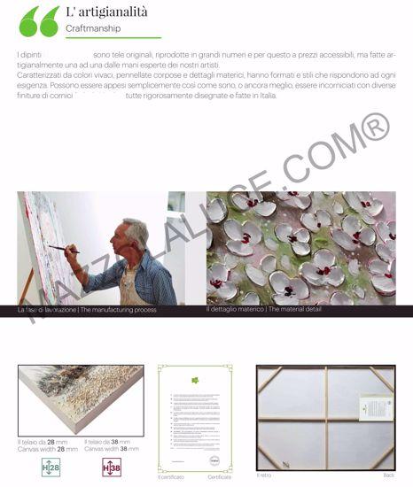 QUADRO DIPINTO ASTRATTO MODERNO VORTICE AZZURRO 108X108 CORNICE IN LEGNO ORO